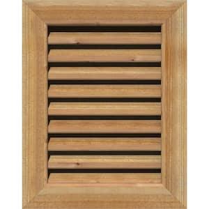35'' x 27'' Rectangular Rough Western Red Cedar Wood Paintable Gable Louver Vent Functional