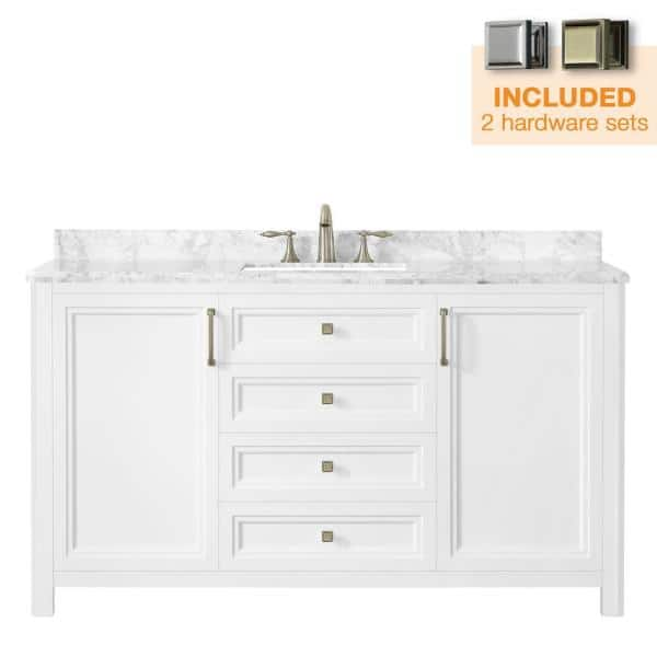Home Decorators Collection Sandon 60 In W X 22 In D Bath Vanity In White With Marble Vanity Top In Carrara White With White Basin Sandon 60w The Home Depot