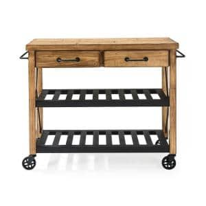 Roots Rack Industrial Natural Kitchen Cart with Towel Rack