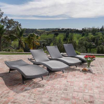 Miller Grey 4-Piece Wicker Adjustable Outdoor Chaise Lounge