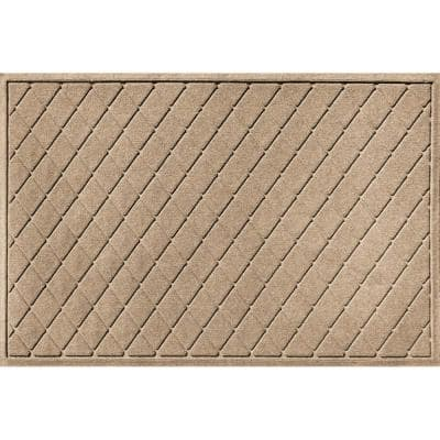 Aqua Shield Argyle Camel 45 in. x 70 in. Recycled Polyester/Rubber Indoor Outdoor Estate Mat