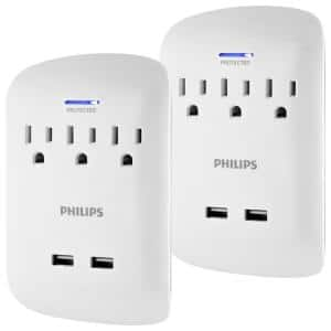 3-Outlet 900J Surge Protector with 2 USB Ports Wall Adapter Tap, White (2-Pack)