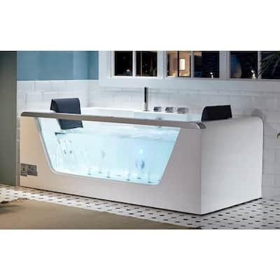 AM196ETL 71 in. Acrylic Flatbottom Whirlpool Bathtub in White
