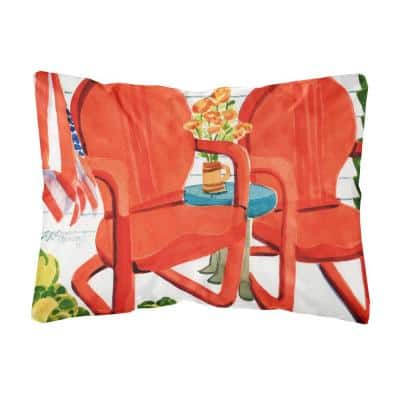 12 in. x 16 in. Multi-Color Lumbar Outdoor Throw Pillow with Red Chairs Patio View Fabric Decorative Pillow
