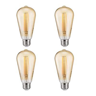 40-Watt Equivalent ST19 Dimmable LED Vintage Light Bulb Soft White (4-Pack)