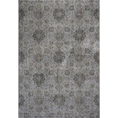 Bernadette Grey 3 ft. x 4 ft. Rectangle Silk Blend Area Rug