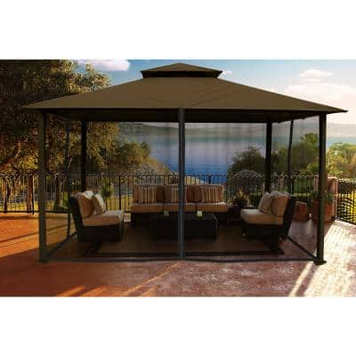 Paragon Gazebo 11 ft. x 14 ft. with Cocoa Color Sunbrella Top and Mosquito Netting