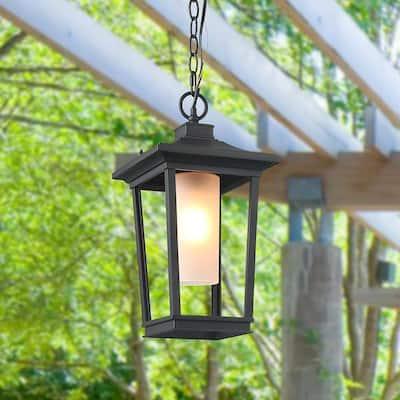 Craftsman 1-Light Black Modern Outdoor Hanging Lantern with Frosted Cylinder Glass LED Compatible Pendant Light