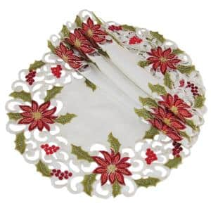 12 in. Poinsettia Lace Embroidered Cutwork Round Doily (4-Set)