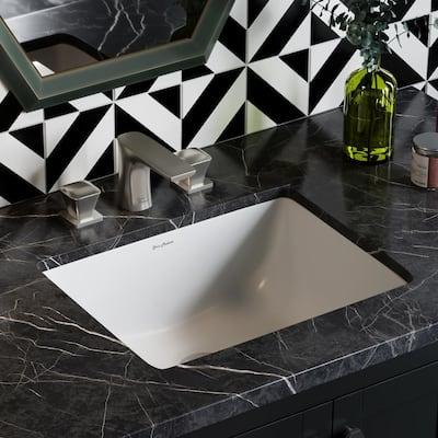 Plaisir 18 in. Rectangular Under-Mount Bathroom Sink in White