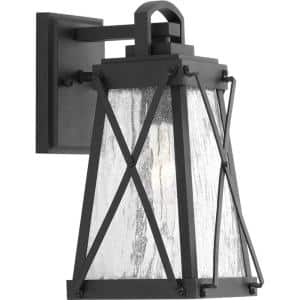 Creighton Collection 1-Light Textured Black Clear Water Glass Farmhouse Outdoor Small Wall Lantern Light