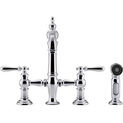 Artifacts 2-Handle Bridge Kitchen Faucet with Lever Handles and Side Spray in Vibrant Polished Nickel