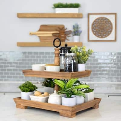 Farmhouse Rectangle 2-Tiered Decorative Tray Stand