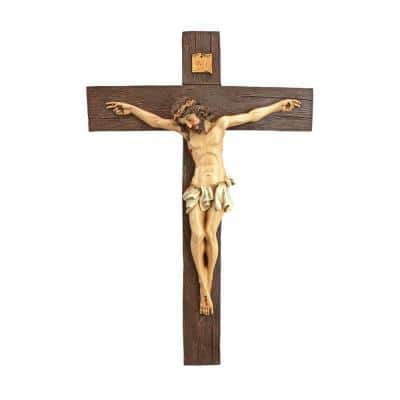 20 in. x 13.5 in. Crucifixion of Christ Cross Medium Scale Wall Sculpture