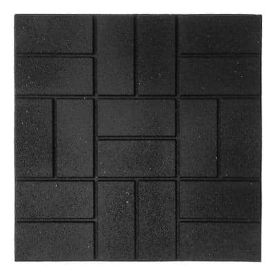 24 in. x 24 in. XL Brick Black Rubber Paver 1EA
