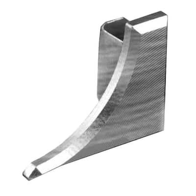 Dilex-AHKA Brushed Chrome Anodized Aluminum 1/4 in. x 1/2 in. Metal Left End Cap