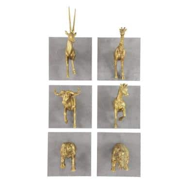 12 in. x 8 in. Gold Resin Modern Wall Decor (Set of 6)