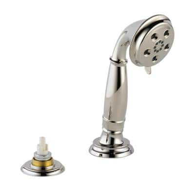 Cassidy 3-Spray 3 in. Single Tub Deck Mount with Transfer Valve Handheld Shower Head in Polished Nickel