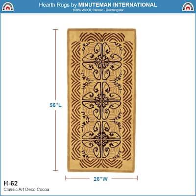 Art Deco Classic Rectangular Hearth Rug, 56 Inch Long, Cocoa