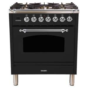 30 in. 3.0 cu. ft. Single Oven Italian Gas Range with True Convection, 5 Burners, Chrome Trim in Glossy Black