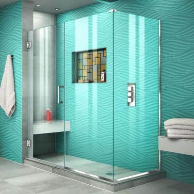 Unidoor Plus 57.5 in. W x 34-3/8 in. D x 72 in. H Frameless Hinged Shower Enclosure in Chrome