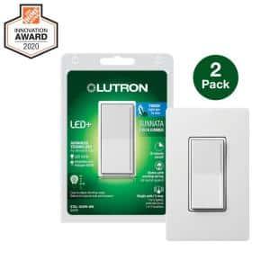 Sunnata Touch Dimmer with LED+ Advanced Technology for LED, Incandescent/Halogen Bulbs, White (2-Pack w/ Wall Plate)