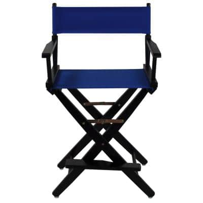 24 in. Extra-Wide Black Wood Frame/Royal Blue Canvas Seat Folding Directors Chair