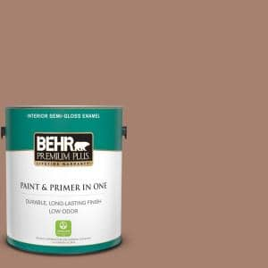 Behr Premium Plus 1 Gal S190 5 Cocoa Nutmeg Semi Gloss Enamel Low Odor Interior Paint And Primer In One 340001 The Home Depot