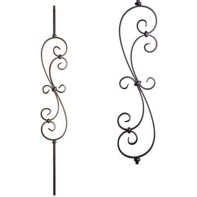 Scrolls 44 in. x 0.5 in. Satin Black Large Spiral Scroll Hollow Wrought Iron Baluster