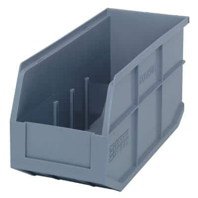 Stackable Shelf 10-Qt. Storage Tote in Gray (6-Pack)