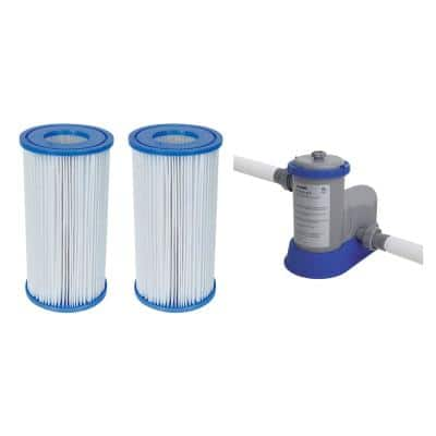4.2 in. Dia Type-III/A Pool Replacement Filter Cartridge (2-Pack) with Pool Filter Pump System