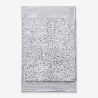 Organic Glacier Gray 21 in. x 34 in. Cotton Bath Rug
