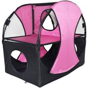 Pink and Black Kitty-Play Obstacle Travel Collapsible Soft Folding Pet Cat House