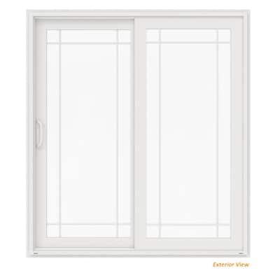 72 in. x 80 in. V-4500 White Vinyl Left-Hand 9 Lite Sliding Patio Door