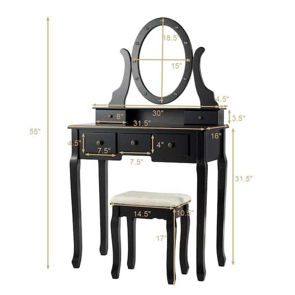 Costway Black Wood Vanity Set Makeup, Vanity Table Set With Lighted Mirror Stool