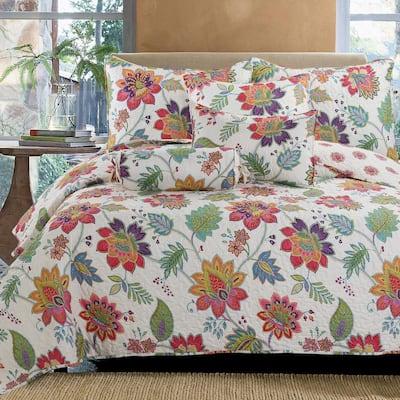 Floral Rainbow Gypsy Blooms 3-Piece Multicolor Pink Purple Blue Green Orange Chintz Poly Cotton Queen Quilt Bedding Set