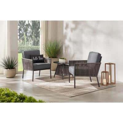 Tolston 3-Piece Wicker Outdoor Patio Chat Set with Charcoal Cushions