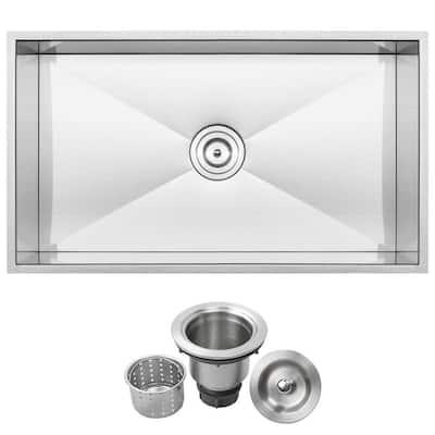 Pacific Zero Radius Undermount 16-Gauge Stainless Steel 31.25 in. Single Basin Kitchen Sink with Basket Strainer