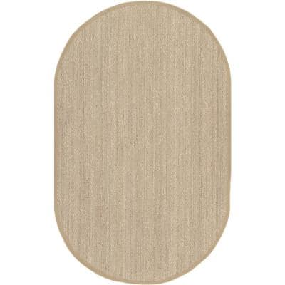 Elijah Seagrass with Border Beige 5 ft. x 8 ft. Oval Rug