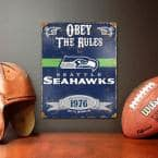 14.5 in. H x 11.5 in. D Heavy Duty Steel Seattle Seahawks Embossed Metal Sign Wall Art
