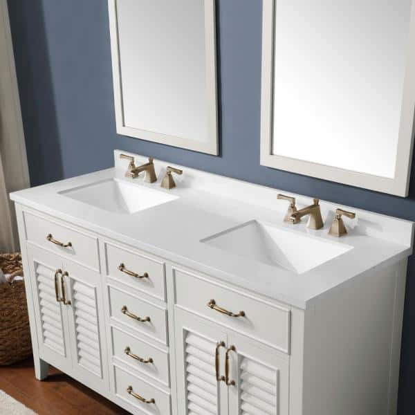 Martha Stewart Living Lakeside 60 In Bath Vanity White Picket Fence With Cultured Marble Top Basins 15vva Lake60 07 The Home Depot
