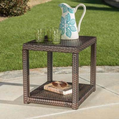 Kailee Multi Brown Rectangular Wicker Outdoor Accent Table