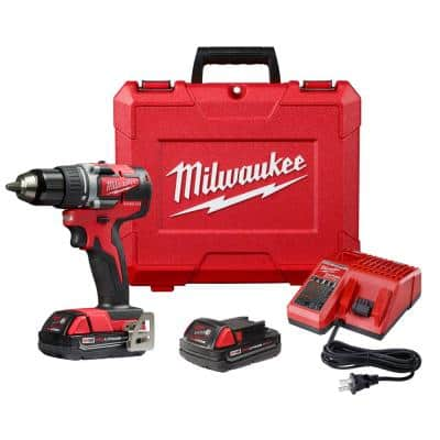 M18 18-Volt Lithium-Ion Brushless Cordless 1/2 in. Compact Drill/Driver Kit with (2) 2.0 Ah Batteries, Charger and Case