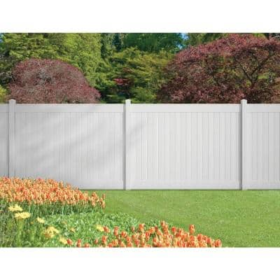 5 in. x 5 in. x 9 ft. White Vinyl Pro Fence End Post