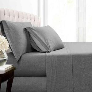 Heather Jersey 4-Piece Charcoal Solid Cotton Blend Queen Sheet Set