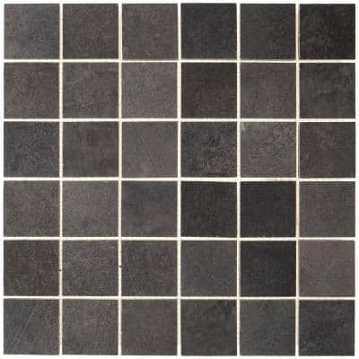 Metro Anthracite 12 in. x 12 in. x 9mm Matte Glazed Porcelain Rectified Mesh-Mounted Mosaic Tile