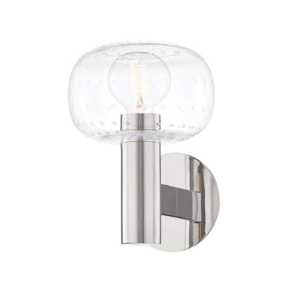 Mitzi By Hudson Valley Lighting Harlow 1 Light Polished Nickel Wall Sconce H4033101 Pn The Home Depot