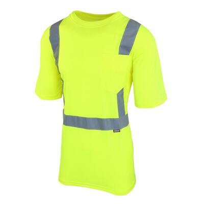 Unisex 2X-Large Hi-Visibility Yellow ANSI Class 2 Short-Sleeve Shirt