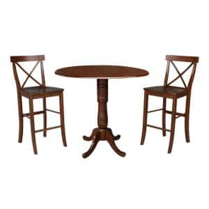 International Concepts Olivia 3 Piece Black And Cherry 42 In Bar Height Dropleaf Table And San Remo Bar Stool Dining Set K57 42dpt 27 S103 2 The Home Depot