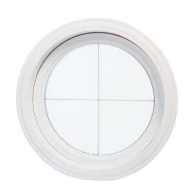 24.5 in. x 24.5 in. Obscure Glass Round Picture Vinyl Window with Platinum Cross Design, White